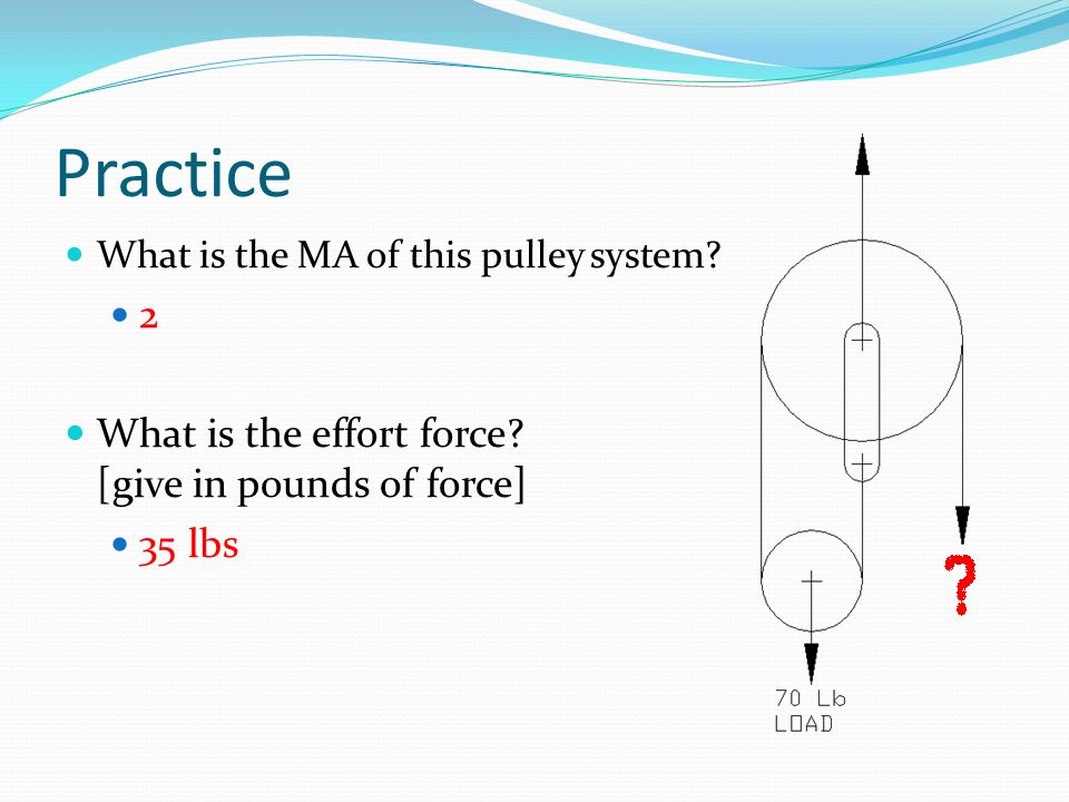 Practice 2 What is the effort force [give in pounds of force] 35 lbs